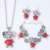 Elephant Necklace Bracelet Earrings Set