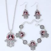 Hamsa Peace Necklace Bracelet Earrings Set