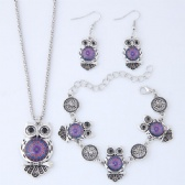 Owl Necklace Bracelet Earrings Set