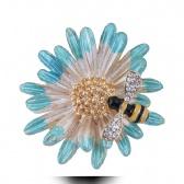 Chrysanthemum Bees Brooch