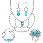 Fashion Necklace Bracelet Earrings Ring Set