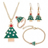 Christmas Necklace Bracelet Ring Earrings Set