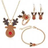 Christmas Necklace Bracelet Ring Earrings Set
