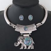 Elephant Necklace Earrings Set